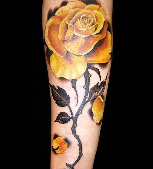 yellow rose tattoo arm 2