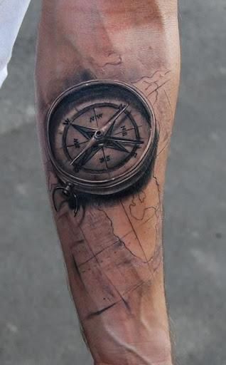 3d compass tattoo arm 1