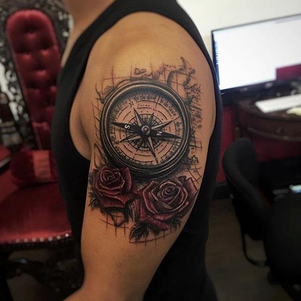 3d compass tattoo sleeve 1
