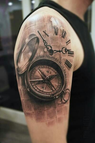 compass 3d tattoo sleeve 2