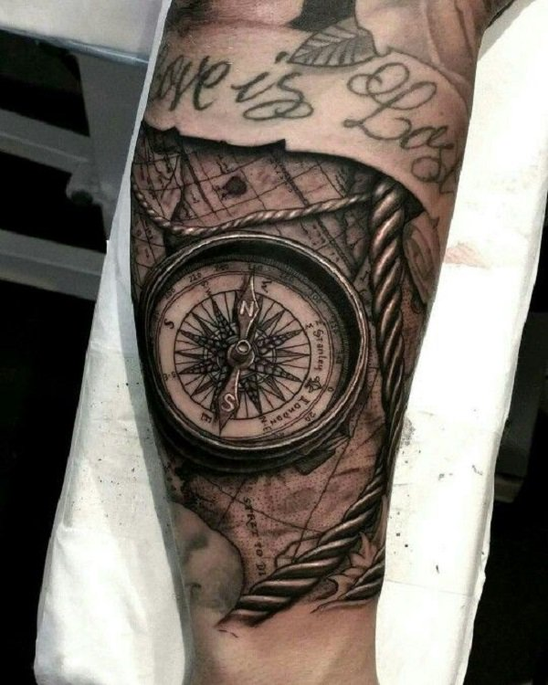 compass 3d tattoo sleeve 3