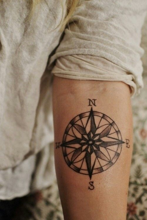 artsy compass tattoo arm 2