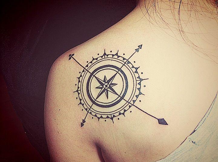 artsy compass tattoo back 1