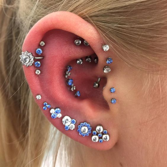 blue stones for cartilage piercings