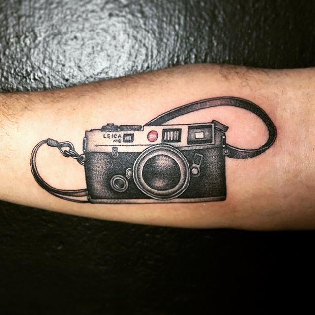 camera cool tattoo leg 1