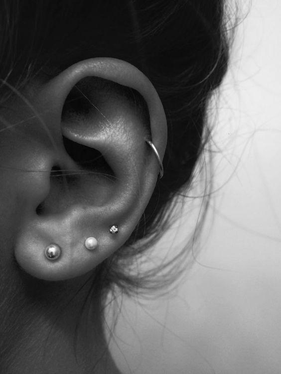 earlobe and helix piercings