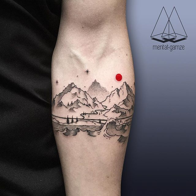 landscape cool tattoo arm 1