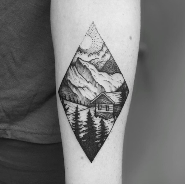 landscape cool tattoo arm 3