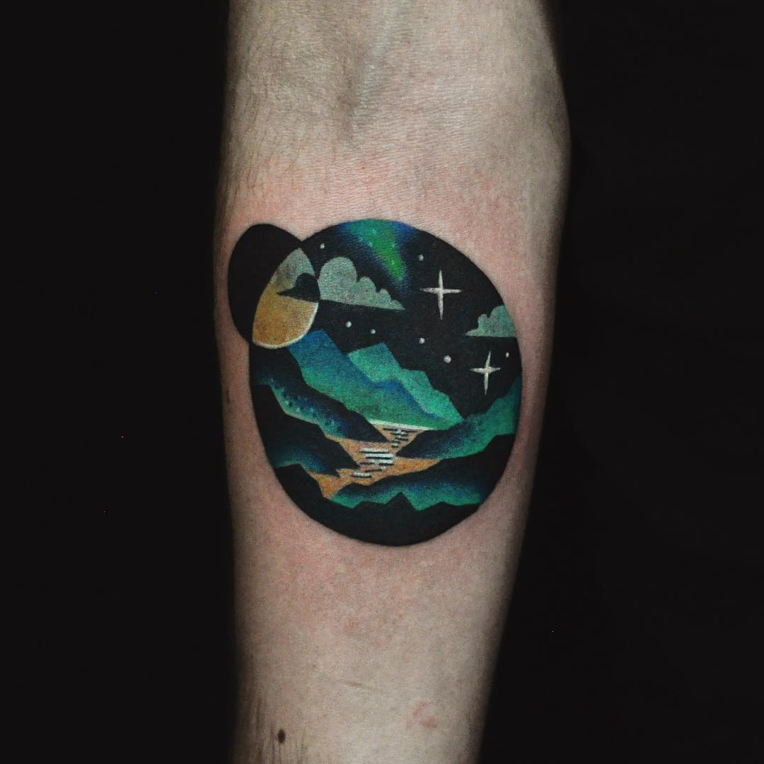 landscape cool tattoo arm 4