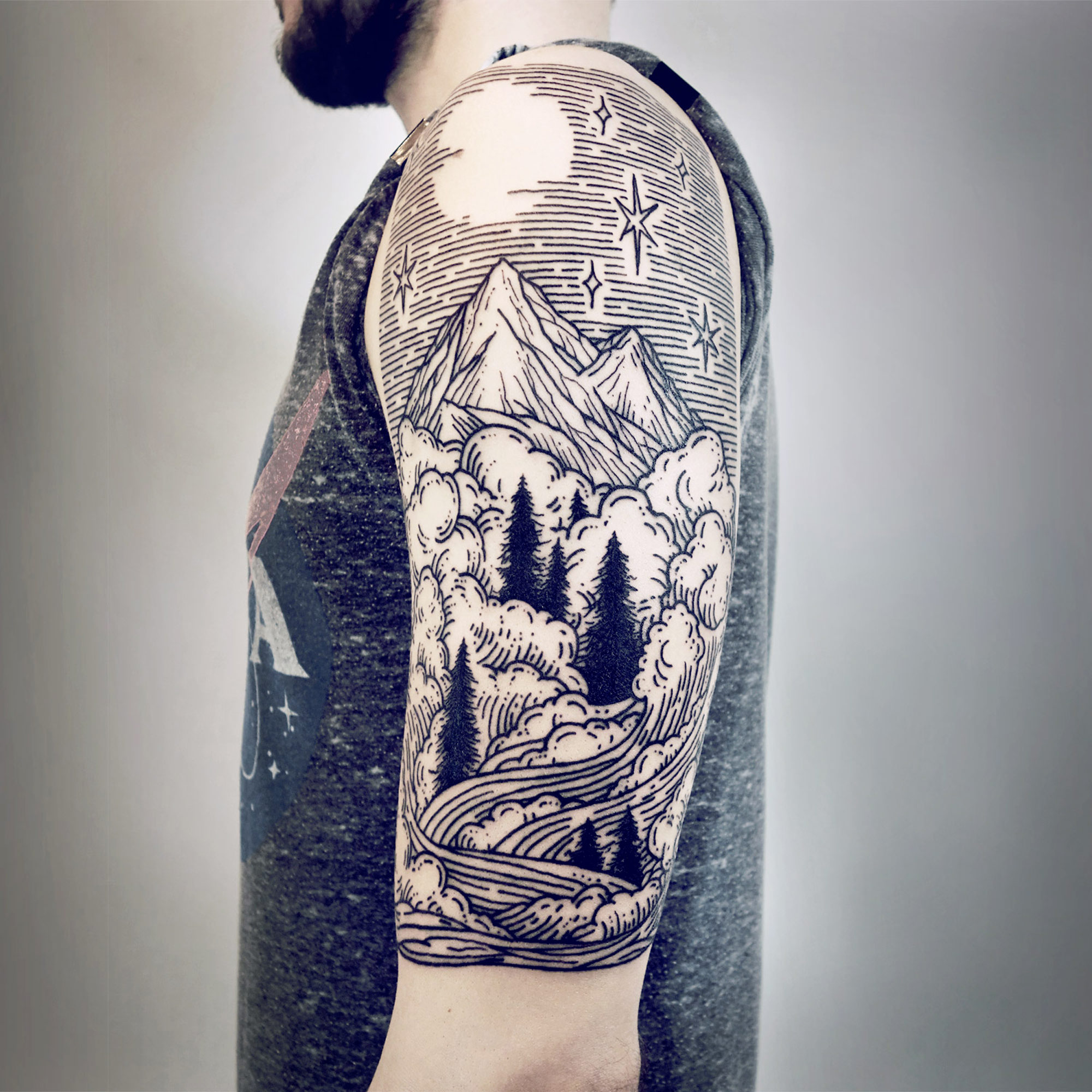 landscape cool tattoo sleeve 2