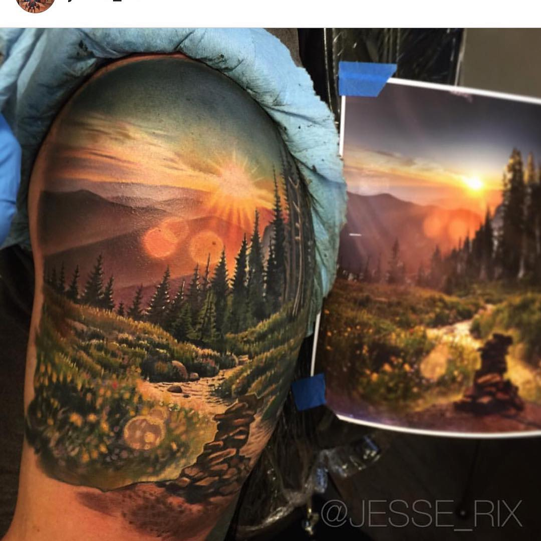 landscape cool tattoo sleeve 3