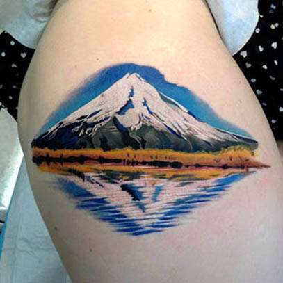 landscape cool tattoo thigh 1