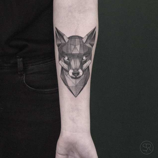 low poly geometric tattoo arm 2
