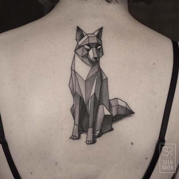 low poly geometric tattoo back 1
