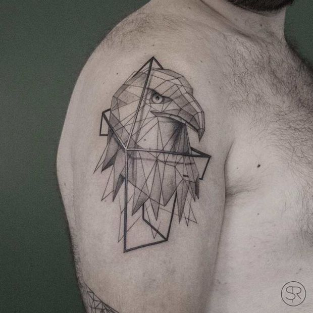 low poly geometric tattoo sleeve 1