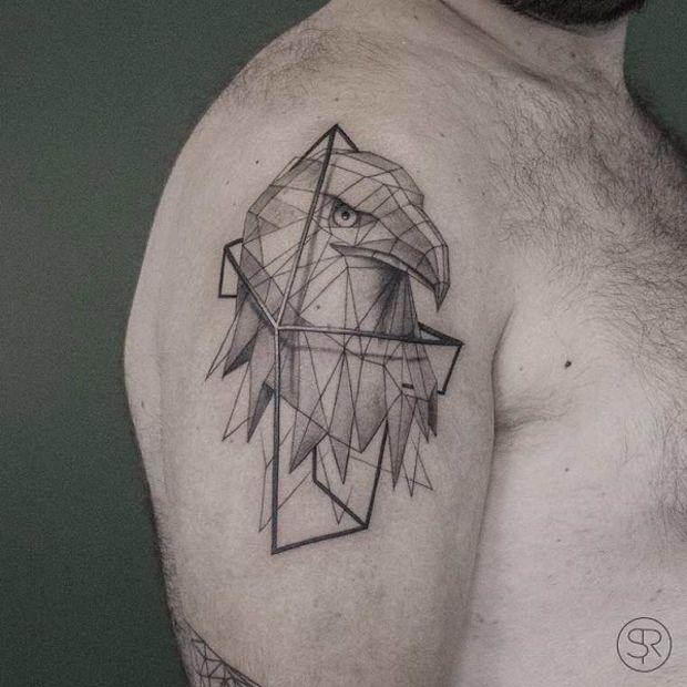 low poly geometric tattoo sleeve 1