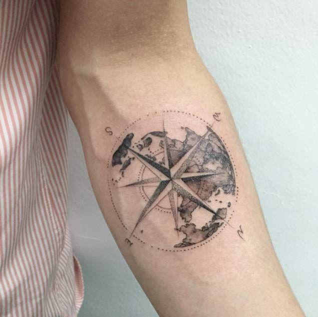 men compass tattoo arm 1