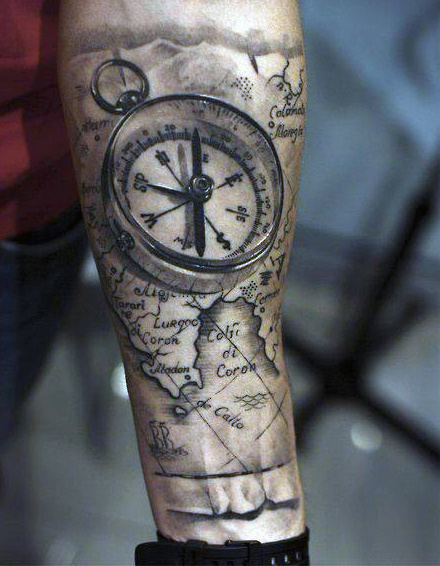 men compass 3d tattoo arm 3