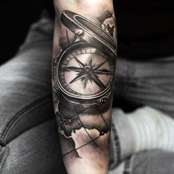men compass 3d tattoo arm 5