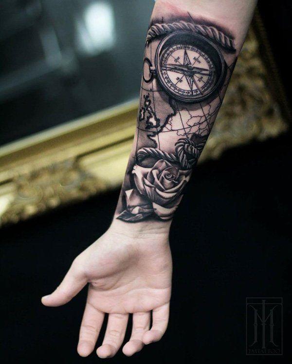 men compass tattoo arm 7