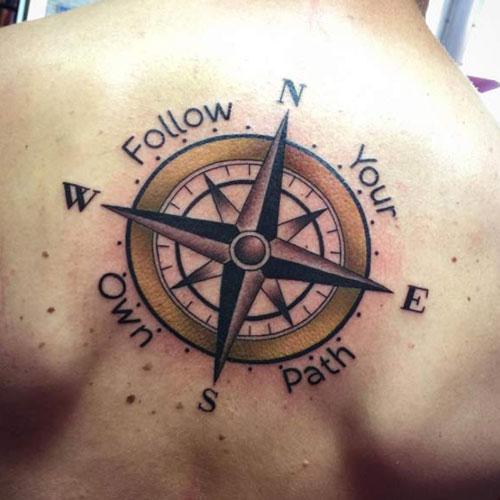 men compass tattoo back 1