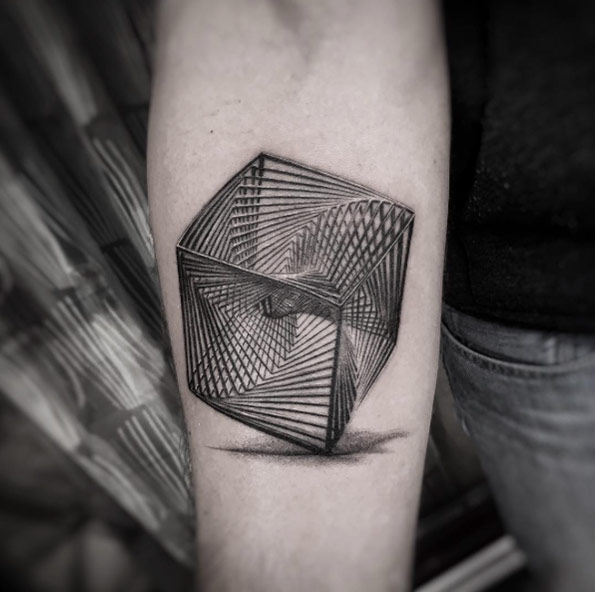 men geometric tattoo arm 2