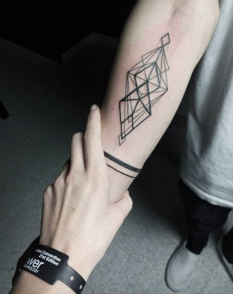 men geometric tattoo arm 7