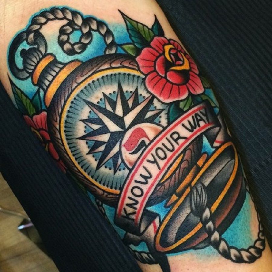 neotraditional compass tattoo arm 3