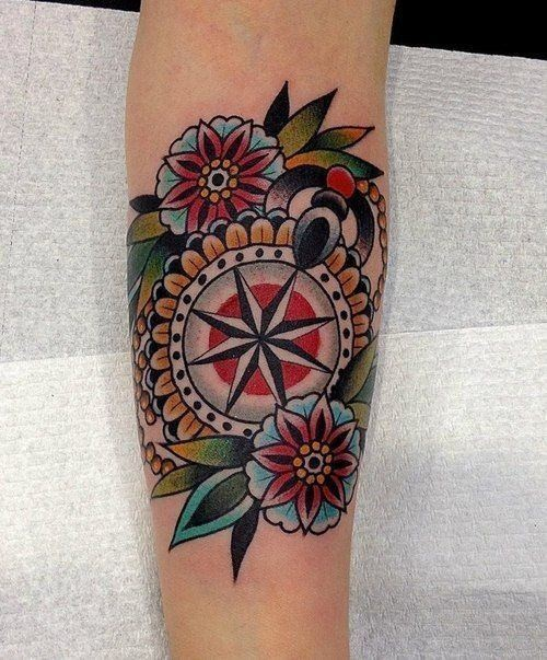 neotraditional compass tattoo arm 4