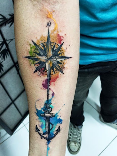 watercolor compass tattoo arm 1