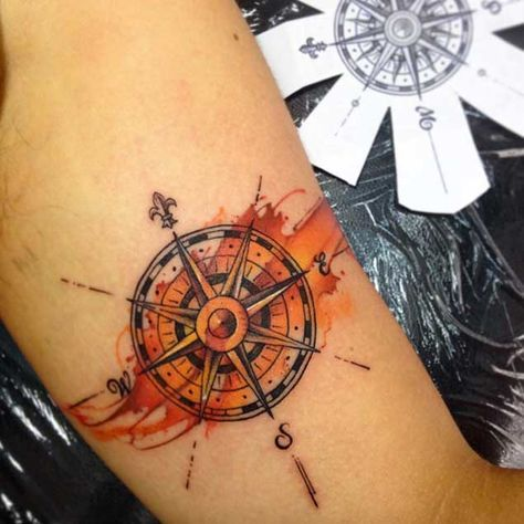 watercolor compass tattoo arm 2