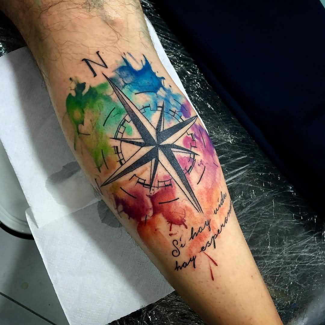 watercolor compass tattoo arm 3