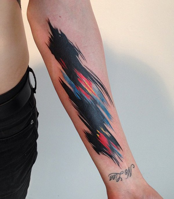 watercolor tattoo arm 2