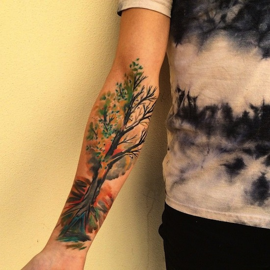 watercolor tattoo arm 3