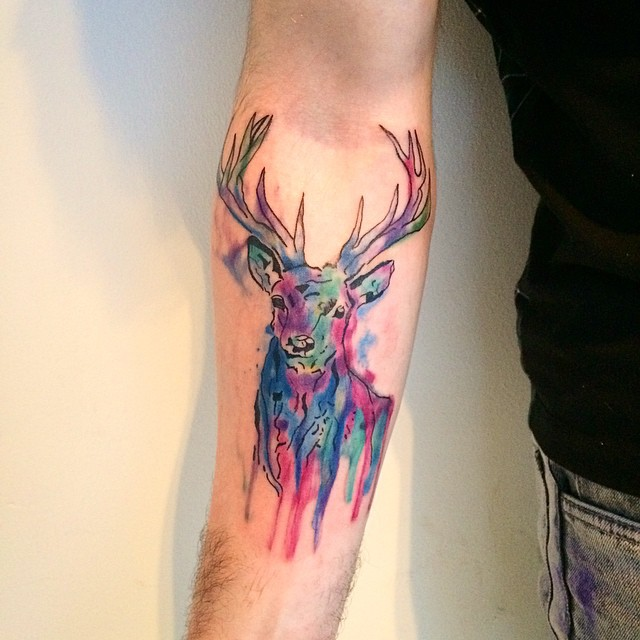 watercolor tattoo arm 5