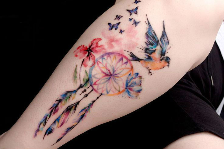 watercolor tattoo arm 6