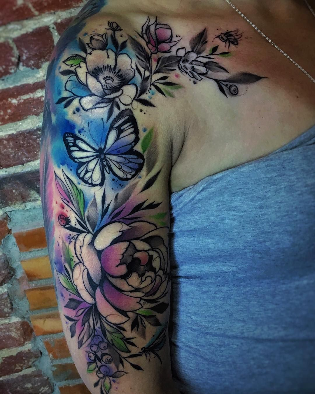 watercolor tattoo sleeve 2