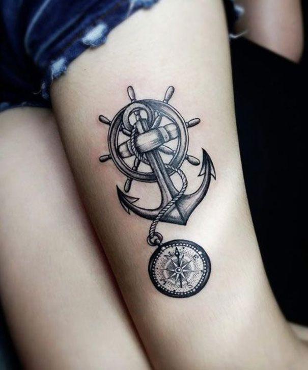 women cool tattoo thigh 2