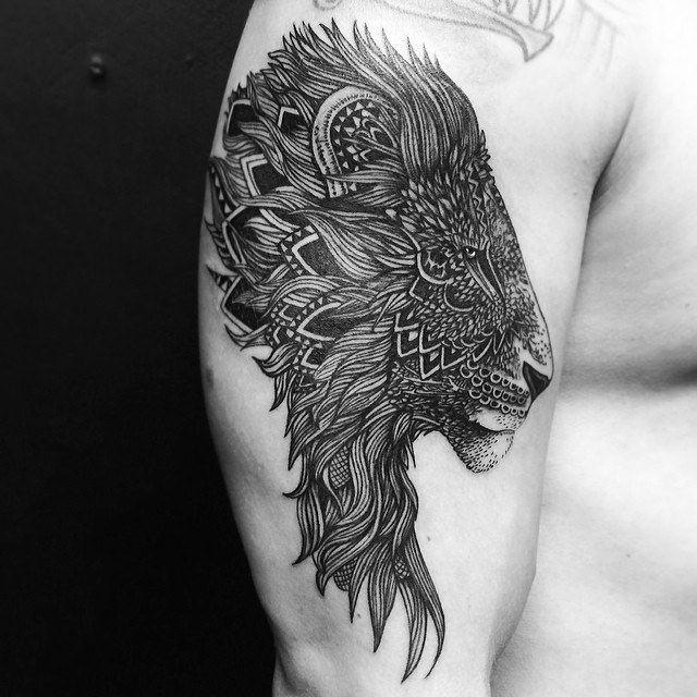 Fascinating Lion Mandala Tattoo