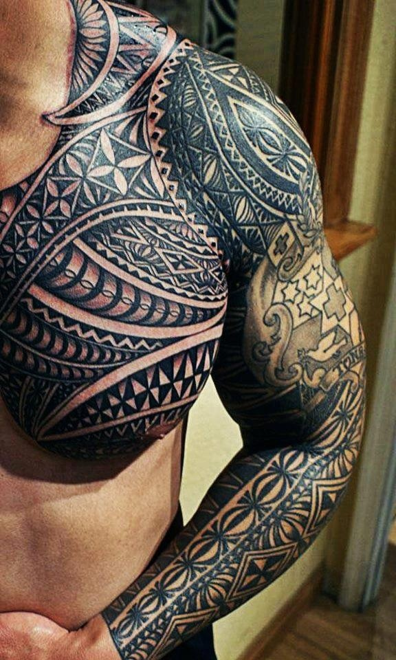 Cool Chest and full sleeve Mandala Tribal Tattoo