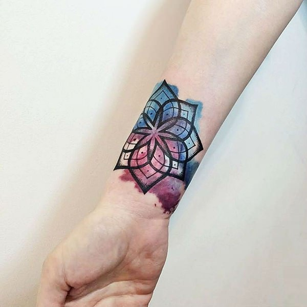 Watercolor based Mandala Themed Tattoo