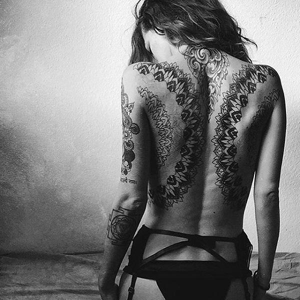 Drop dead Back Mandala Tattoo