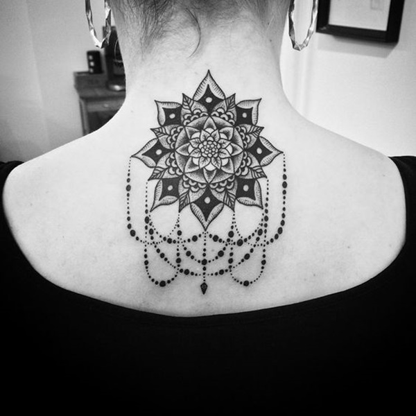 Jaw-dropping Back Mandala themes tattoo