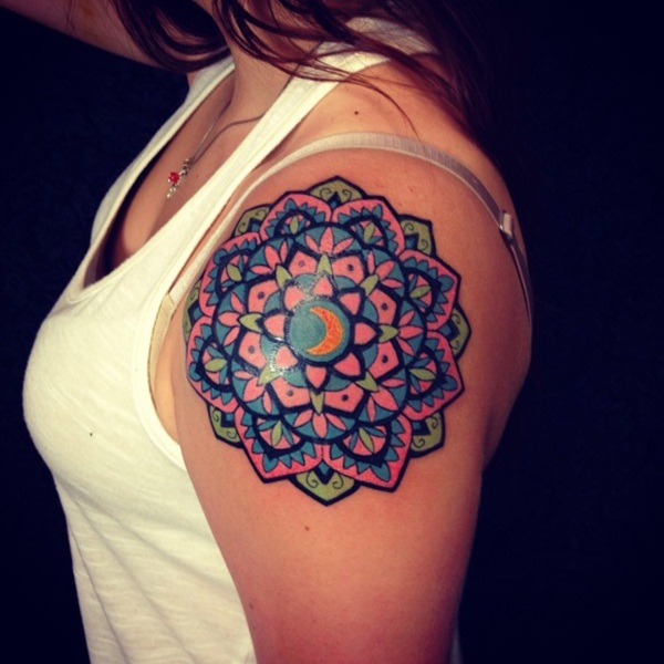Vibrant Pink and Green Floral themed- Mandala tattoo