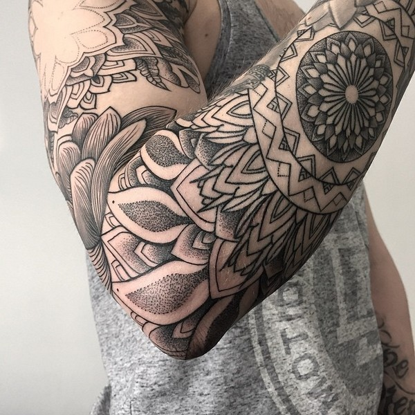 Powerful Sleeve Mandala Tattoo
