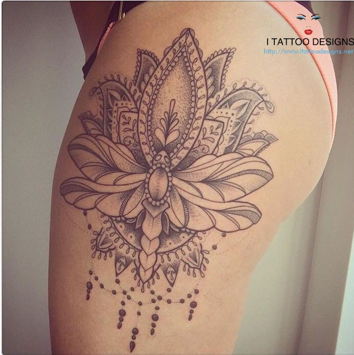 Powerful buttocks Flower Mandala Tattoo