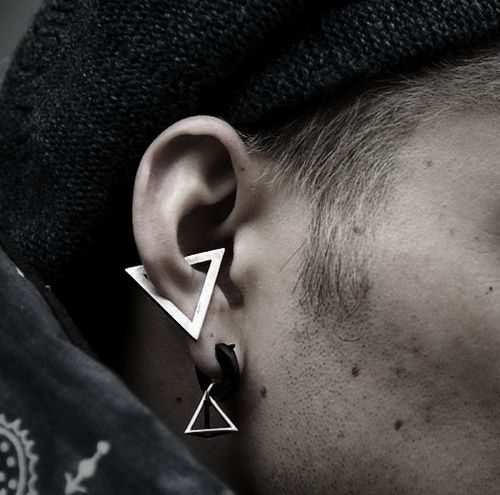 unique conch piercing on a male model