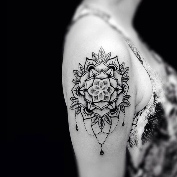 Jolting Upper arm Floral Mandala Tattoo