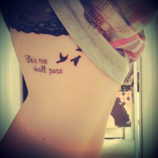 Quote tattoo with birds women