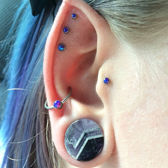 a couple of ear piercings